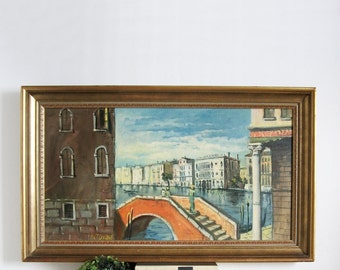 Venice Canals - Large Vintage Painting - Mid Century Modern Fine Art - Italian Landscape Painting - Vintage Framed Art - Ornate Gold Frame
