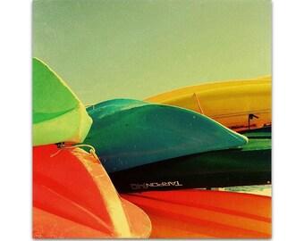 nautical decor // summer art // boat photograph - Kayaks, original photograph on canvas