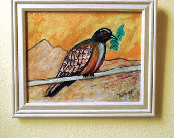 Peace Dove Painting, Original Acrylic Painting, Dove Art, Shalom Artwork, Peace Dove with Olive Branch, Desert Wall Art, Judaica Gifts