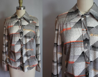 1970s Top // Gray with Horses // Small