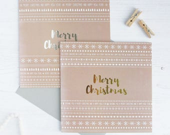 Christmas Cards with Silver and Gold Foil Pack of 6 or 12 or single card | Merry Christmas
