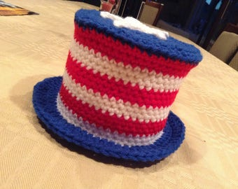 Crocheted 4th of July Patriotic Top Hat Toilet Paper Cover (READY TO SHIP!)