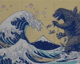 Godzilla Fabric Kaiju Tenugui 'Godzilla & Hokusai's Great Wave w/Sakura' Hokusai Japan Gojira Cotton w/Free Insured Shipping