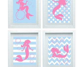 Mermaid Art Nursery Art Print Girl Room Decor Baby Blue Pink Wall Art Print Set of 4 - 8x10 Kids Room Decor, Choose Your Color