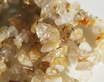 Full Strand, Golden Rutilcated Quartz Chips, 6-8MM