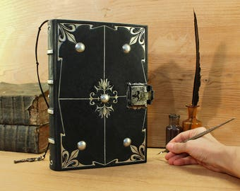 """Journal with Lock and Key, Black Leather - """"Magic Shine"""""""