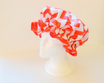 Vintage Shower Caps, Red Chevron Adult Size  - Wipeable and Washable, BPA FREE