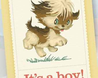 Personalized Birth Announcements - Vintage Puppy Dog Paint by Number - It's a boy! - 100 Announcements