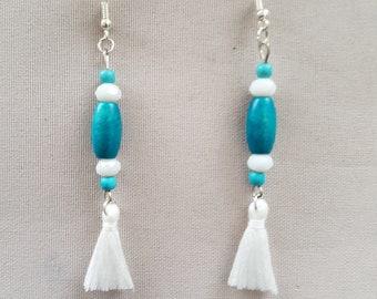 tassel and bead earrings