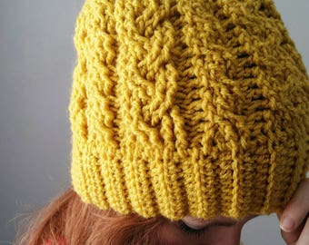 Cable crochet beanie pattern, Messy bun hat crochet pattern, crochet messy bun hat, Cable crochet beanie with a messy bun option