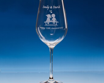 First Anniversary Gift, Mr and Mrs Personalised Anniversary Gift, Wife Anniversary Gift, Couples Wine Glass, Engraved  Gift Anniversary