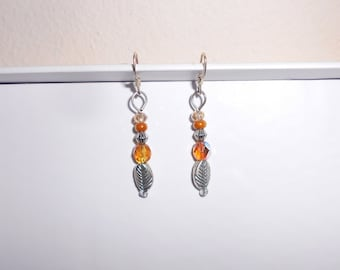 Amber glass silver tone leaf pierced earrings handmade 1990s dangle earrings