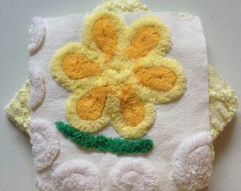 SPRING SALE...9 Vintage Chenille Yellow Six-inch Quilt Squares Kit