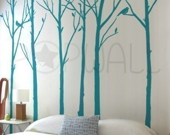 Leafy Winter Tree Wall Decal, Living Room ,birds Wall Decal Wall Sticker , Wall Graphic, Wall Art 037