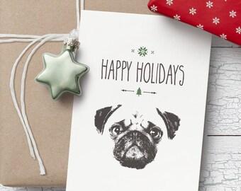 Pug Christmas card- Blank Christmas card, Pug Christmas card, Pug Christmas gift idea, Pug gift, pug greeting card, Pug blank card, Pug card