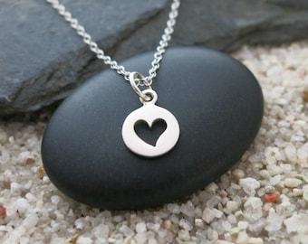 Tiny Heart Necklace, Sterling Silver Heart Charm, Love Jewelry