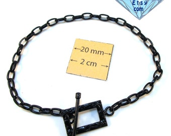 Black Metal Chain Bracelet with a Decorative Toggle Clasp, Just Add Charms, Dangles or Beads, A102-2