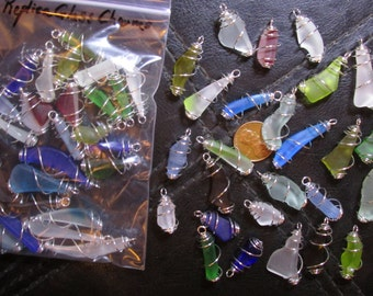 "25 Replica ""Sea Glass"" Charms- Cage Wrapped Style- Small machine tumbled ""beach glass"" dangles in a range of sizes & colors"