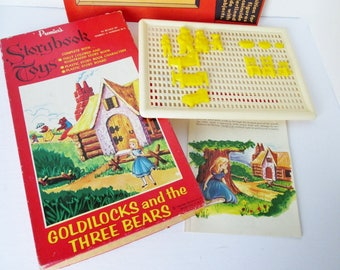 Story Board Game Goldilocks and the three Bears, 1950s book, plastic characters Storybook Toys Premier N.Y. Nursery Tale Fairy Story