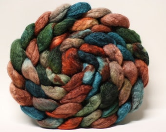 Roving Hand Dyed Handpainted BFL Wool Silk Combed Top Redwood Forest