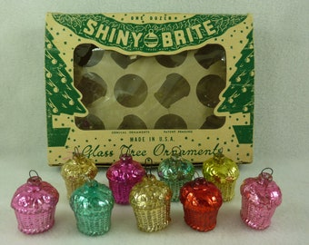 Shiny Brite Glass Feather Tree Christmas Ornaments Basket Set of 9