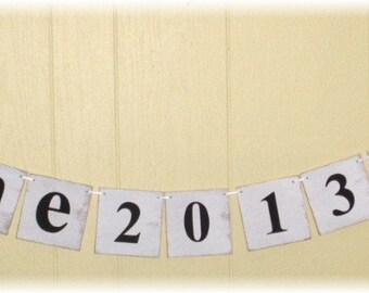 Wedding Save The Date Initial Banner Garland Shabby Chic White Wood Tiles Custom Colors Photo Prop