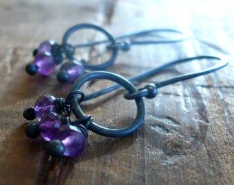 February Flurry Earrings - Handmade. Amethyst. Sterling and Fine Silver Dangle Earrings