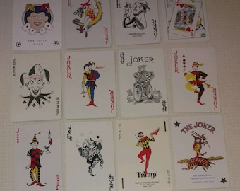 12 different Jokers playing card vintage swap cards Lot II