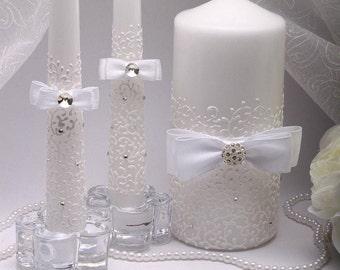 Wedding unity candle set White Unity candle Unity candle set Personalized unity candle Ceremony unity candles set Wedding Unity Candle white