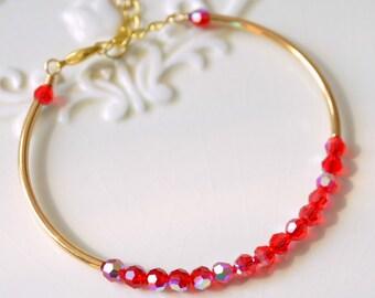 Red Crystal Bracelet, Gold Plated, Real Swarovski Beads, Sleek Bangle, Siam AB, Christmas, Holiday Jewelry