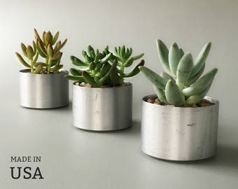 Metal Planters Set of Three Round Metal Indoor Minimalist Modern Succulent Planters Recycled Metal Polished Metal Simple Small Planters