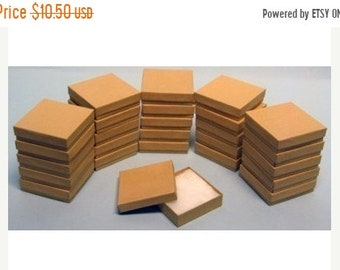 Mothers Day Sale 20 Pack Kraft 3.5 X 3.5 X 1 Inch  Size Cotton Filled Jewelry Presentation Gift Boxes