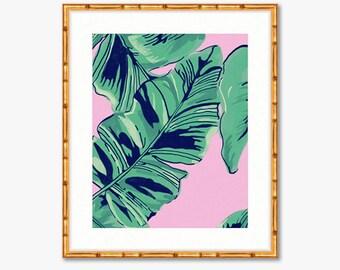 Pink Palms -- Watercolor Print -- Home Decor