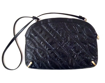 Vintage Bags By Supreme Black Snakeskin Purse With Gold Tone Hardware - Vintage Black Snakeskin Purse - Vintage Black Snakeskin Handbag