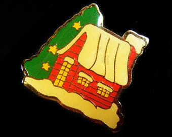 Vintage 80's Snowy Country House Pin