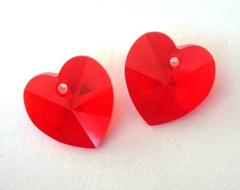 14mm red Swarovski crystal heart pendants, light siam 14mm, no AB coating, qty 2