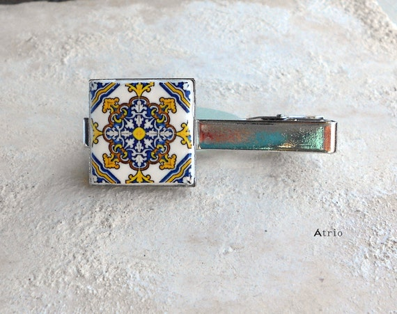 Portugal Tile Antique Azulejo Tile Replica TIE BAR CLIP - Lisboa  - Vuiva Lamego Factory - Gift Box Included  Father's Day  Gift for Him MeN