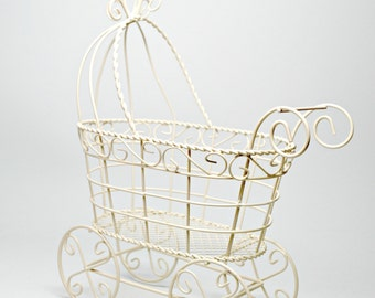 Wire Baby Carriage, Ivory Baby Shower Centerpiece, Baby's Nursery Decoration, Christening Centerpiece, Large Ivory Vintage Carriage,