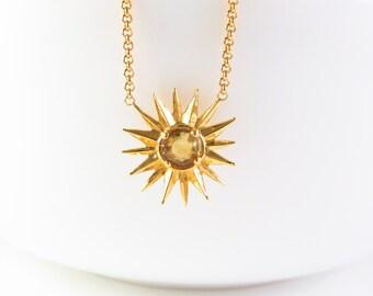 gold sun necklace, sun necklace, Citrine Necklace, gold citrine necklace, gold star Jewelry, November birthstone necklace, gemstone necklace