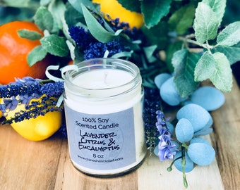 Lavender Citrus & Eucalyptus//Highly Scented Soy Candle//Hand Poured//Odor Eliminator//Spa