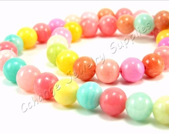 8mm Jade Beads, (47 pcs) Colorful Jade, Full Strand Colorful Natural Jade Stone, First Quality Colorful Loose Gemstone Jade