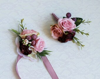 Wedding set boutonniere corsage marsala burgundy blush pink berry rustic