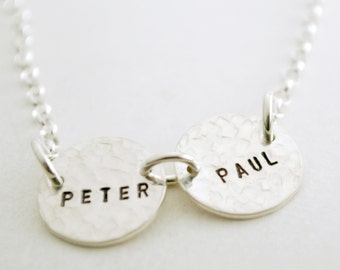 Custom Silver Linked Two Name Hand Stamped Personalized Necklace with Two Names Sterling Silver