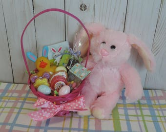 Easter Basket with Stuffed Bunny for American Girl and other 18 inch dolls with Chocolate Bunny, Cookies, Jelly Beans and Toys