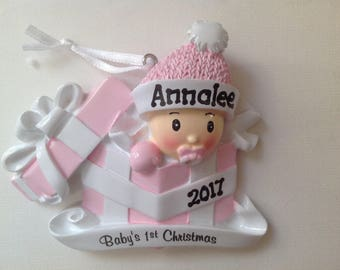 Personalized  Baby Girl's First Christmas Ornament Baby present  Newborn, Baby Shower Gift
