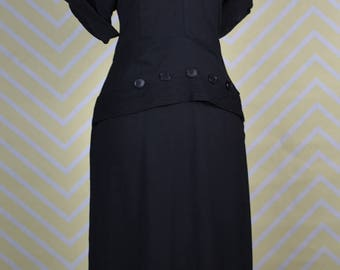 1940s black crepe dress