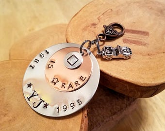 Square is Rare YJ Jeep triple layer hand stamped keyfob keychain with a Willys charm too 1987 - 1995 classic square headlights