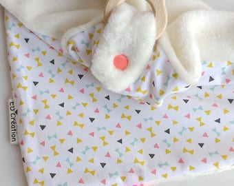 Doudou cotton labels triangular ring Bunny (2 in 1)