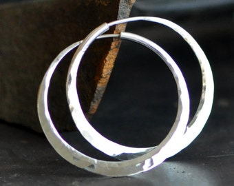 1 1/2 inch round hoop earrings sterling silver,  hammered endless style medium loop, wide, thick, continuous hoops, eco friendly jewelry