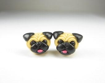 Pug Stud Post Earrings - pug jewelry, pug earrings, dog jewelry polymer clay, dog lover gift, pug gift, miniature animal, stud post earrings